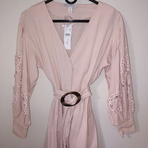 Topshop Vintage Blush Button Down Dress